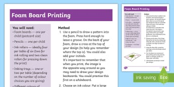 Foam Board Printing  Step-by-Step Instructions - ks1 art, pattern, design, printing, foam print.