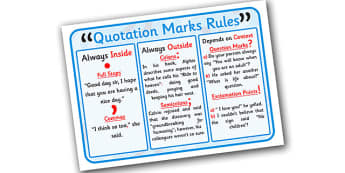 Quotation Marks Rules Display Poster - rules for quotation marks, quotation marks poster, punctuation, punctuation poster, using quotation marks, ks2
