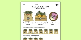 Counting in 2s 5s and 10s Multiplication Worksheet - worksheet