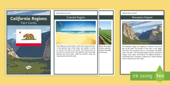 California Regions Fact Cards - state of california, california social studies, mountain, valley,desert, coastal