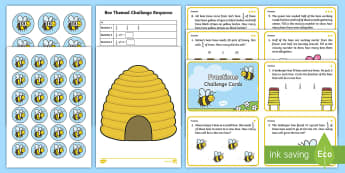 Year 1 Bee Themed Differentiated Fractions Activity Pack - sharing, division, challenge, half, independent, grouping, problem solving, word problems