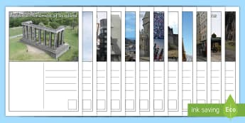 Edinburgh Postcards - Scottish cities, city, Scotland, writing, tourism, landmarks,Scottish, creating texts, learning, edi
