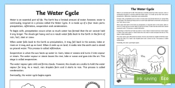 The Water Cycle Explanation Writing Sample-Australia -  literacy, explanations, writing, text types, types of text, writing sample, year 3, year 4, stage t
