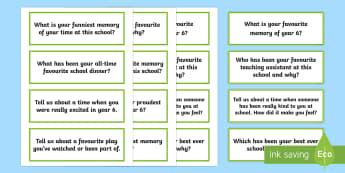 End of Year 6 Reflection Question Cards Activity