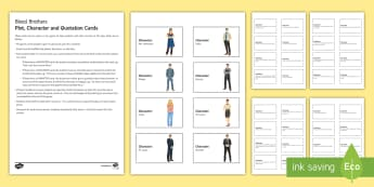 Blood Brothers Plot, Character and Quotation Revision Cards - Blood Brothers, Willy Russell, characters, plot, quotations, themes, Mrs Johnstone, Edward, Mickey,