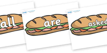 Tricky Words on Sandwiches - Tricky words, DfES Letters and Sounds, Letters and sounds, display, words