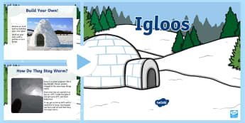 Igloos Information PowerPoint - PowerPoint, polar, igloo, Inuit, houses, seasons, winter, snow, building, dome