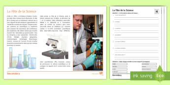 Science Week: Differentiated Reading Comprehension Activity French - Reading, comprehension, GCSE, French, fête de la science, Higher, Foundation, KS4, celebrations,Fre