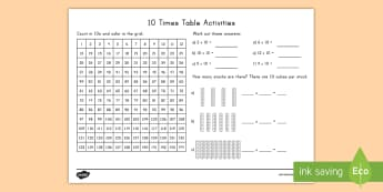 10 Times Table Activity Sheet - counting, 10 times, multiplication, table, activity sheet, worksheet