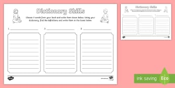 Dictionary Skills Worksheet - dictionary, dictionary skills, worksheet, dicitionary worksheets, skills worksheet, reading, literacy, english, comprehension
