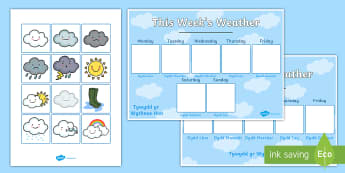 Weekly Weather Recording Chart English/Welsh Display Poster-Welsh - sut mae tywydd heddiw, weather, welsh, tywydd, display, poster, daily routine, bilingual, english and welsh,Welsh