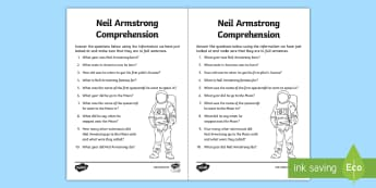 Neil Armstrong Comprehension Activity Sheet - Space, moon, landing, USA, worksheet, questions, research, reading
