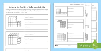 Volume is Additive Coloring Activity - volume, cube, cubic, rectangular prism, height, length, width