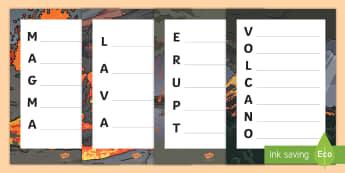 Volcano Acrostic Poem - Volcano Acrostic Poem  - poem, poetry, rhyme, poerty, tempelte, peotry, templet, volcano, volcanoe,