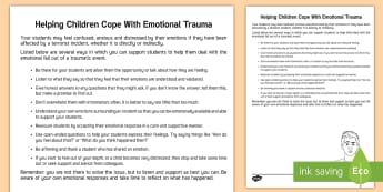 Helping Children Cope with Emotional Trauma Adult Guidance - trauma, emotions, adult guidance, teachers, feelings, guide