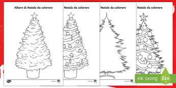 Alberi di Natale Fogli da colorare - abete, decorazioni, decorare, decorazioni, materiale, scolastico, italiano, italian