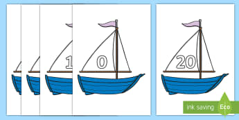 Numbers 0-20 on Boats - Foundation Numeracy, Number recognition, Number flashcards, Boats, transport resource