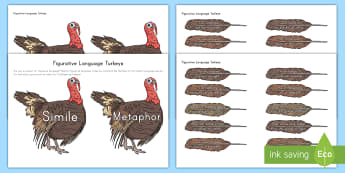 Figurative Language Turkeys Activity - Thanksgiving, Simile, Alliteration, Onomatopoeia, Metaphor, Hyperbole, Personification,