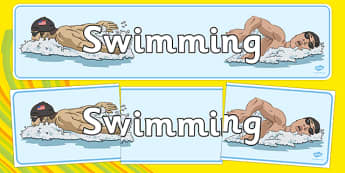 The Olympics Swimming Display Banner - Swimming, Olympics, Olympic Games, sports, Olympic, London, 2012, display, banner, poster, sign, activity, Olympic torch, events, flag, countries, medal, Olympic Rings, mascots, flame, compete