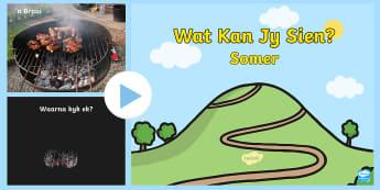 Somer Tema Wat Kan Jy Sien PowerPoint  - seisoene, weer, warm, temperature, vakansie, see, strand