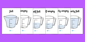 Capacity Display Posters (Jugs) - Capacity display posters, capacity, volume, litre, full, empy, half full, measure, jug, cup, water, display, poster, freize, numeracy, measurement, capacity, poster