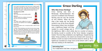 KS1 Grace Darling Differentiated Reading Comprehension - rescue, heroine, lighthouse, safety, sailor
