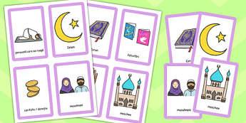 Despre Islam - Cartonașe pentru joc de memorie - despre Islam, Islam, cartonașe, țări, lume, tradiții, obiceiuri, materiale, materiale didactice, română, romana, material, material didactic