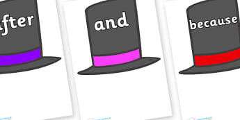 Connectives on Top Hats - Connectives, VCOP, connective resources, connectives display words, connective displays