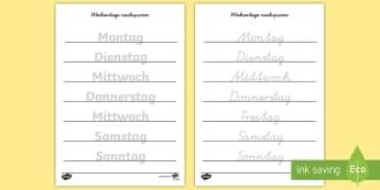 Wochentage Arbeitsblatt Erstes Schreiben: Wörter nachspuren - Wochentage, Wochentage Übung, nachspuren, Wörter nachspuren, Wochentage nachspuren, schreiben lern