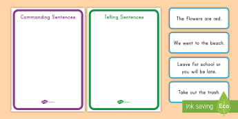 Telling vs. Commanding Sentences Sorting Cards - Declarative Sentence, Imperative Sentence, Punctuation, periods, Grammar