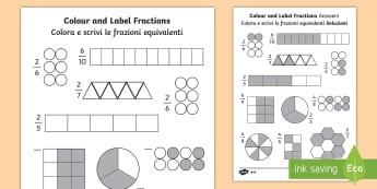 Colour and Label Fractions Activity Sheet English/Italian - Shading Fractions - fractions, fractions worksheet, colour and label fractions, colouring fractions