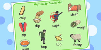 Final 'P' Sound Word Mat 2 - sounds, words, mats, visual, visuals