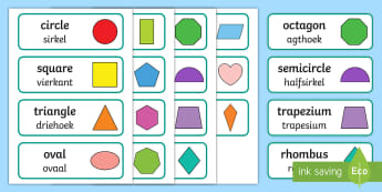 2D Shape Word Cards English/Afrikaans - Math, numeracy, square, triangle, circle, wiskunde, EAL