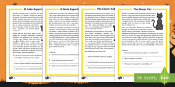 The Clever Cat Differentiated Reading Comprehension Activity English/Portuguese - Halloween, october, festival, autumn, celebration, spooky, ghosts, witch, zombies, eal