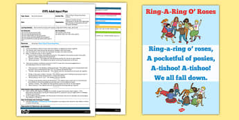Ring-A-Ring O' Roses Parachute Activity EYFS Adult Input Plan and Resource Pack - rhyme, PE, physical education, parachute games