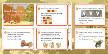 Don't Hog the Hedge! Year 1 Reasoning Differentiated Challenge Cards - Twinkl Originals, Fiction, Autumn, Hibernate, Woodland, Animals, Year 1 Problem solving, Calculation