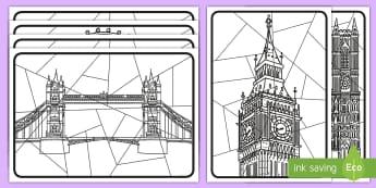 Whole-Class Large London Art Activity Sheets - worksheets, capital city, st paul's, the gherkin, london bridge, whole class, city, cities, UK