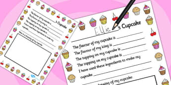Design a Cupcake Role Play Writing Frame - writing frame, cupcake