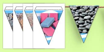 Materials Photo Display Bunting - materials, materials display photos, materials bunting, materials photo bunting, different materials, material photos