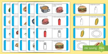 Dinner Loop Cards Gaeilge - Bia, Am Dinnéir, Dinnéar, Dinnéir, Irish, food, dinnertime,