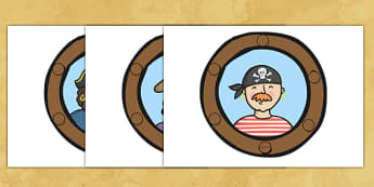 Pirate Ship Display Portholes - Pirate, Pirates, Flag, pirate display, porthole, Topic, Display, Posters, Freize, play, pirate, pirates, treasure, ship, jolly roger, ship, island, ocean