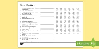 Rivers Clue Hunt Activity Sheet - rivers, key, terms, glossary, physical, landscape, worksheet, definitions