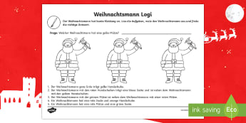 DE Weihnachtsmann Logical - DE EYFS Christmas,German, worksheet, santa, deutsch