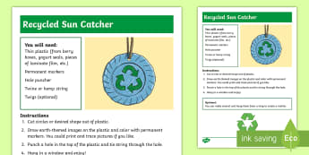 Recycled Sun Catcher Craft Instructions - Earth Day, reduce, reuse, recycle, earth, sun, sun catcher, craft, art, marker, twine, project,