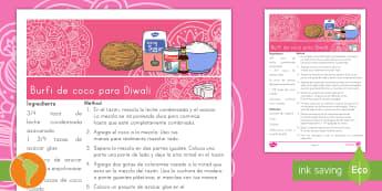Receta: Burfi de coco para Diwali - Coco Diwali receta, receta, receta de diwali, burfi de coco, receta de burfi, diwalli, dwali, dawali