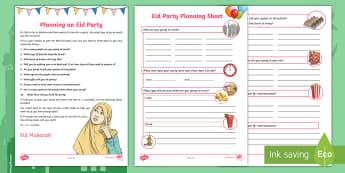 Eid Party Planning Worksheet / Activity Sheet - Eid al-Fitr, Bahrain, Eid, Party, Planning, Pack, worksheet, al-adha