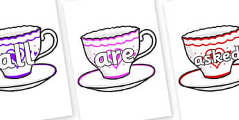 Tricky Words on Cups and Saucers - Tricky words, DfES Letters and Sounds, Letters and sounds, display, words
