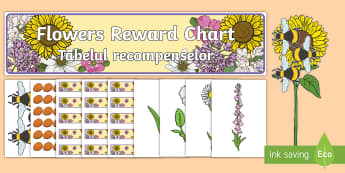 Flowers Reward Display Pack English/Romanian - Flowers Reward Display Pack - flowers, reward, display pack, golden time, EAL