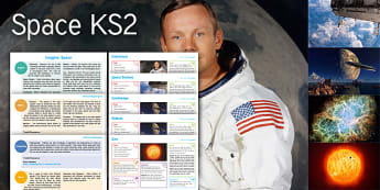 Imagine Space KS2 Resource Pack - Space, Astronaut, Landscape, Nebula, The Sun, Maths, Measure, Radius, Diameter, English, Biography,