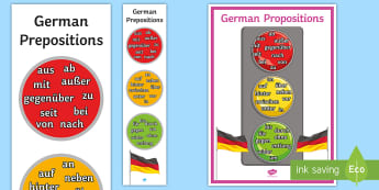 Prepositions Display Poster German - Dative, Accusative, Dual Prepositions, Display, KS4/KS3 German,German